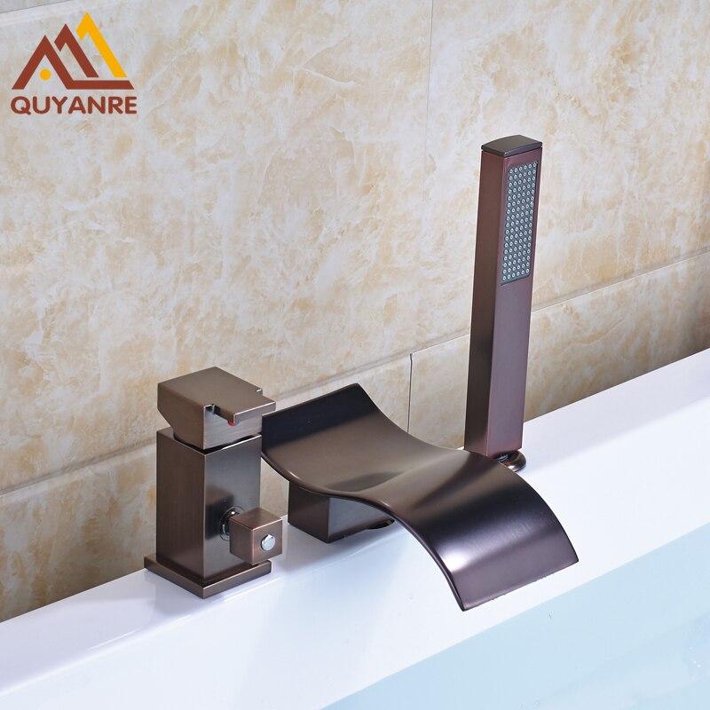 Oil Rubbed Bronze Bath & Shower Faucets Single Handle Three Holes Deck Mount Bathroom Faucet