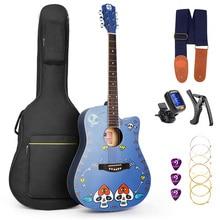 """""""Vangoa Original"""" 41 """"pilno dydžio dažytos stiliaus plytelės akustinė gitara su džigo maišeliu, dirželiu, kapu, aromatinimo įrenginiu, pėdsakais ir strėpais"""