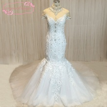 SuperKimJo 2018 High Neck Crystal Mermaid Wedding Dresses Luxury Glitter 3D Flowers Bridal Gowns Robe De Mariee