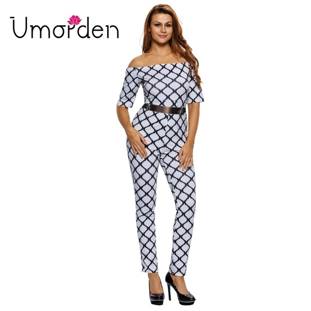 63c21e3b076 Umorden Slash Neck Belted Half Sleeve Skinny Women Jumpsuit Black White  Plaid Print Jumpsuits Rompers Long Pants Party Club Wear