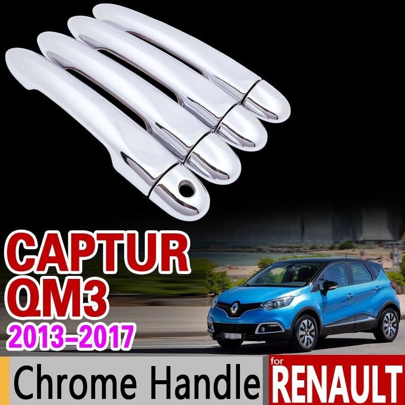 for Renault Captur Kaptur Samsung QM3 Chrome Handle Cover Trim Set 2013 2014 2015 2016 2017 2018 Accessories Sticker Car Styling for renault captur luxurious chrome door handle covers accessories stickers car styling 2013 2014 2015 2016