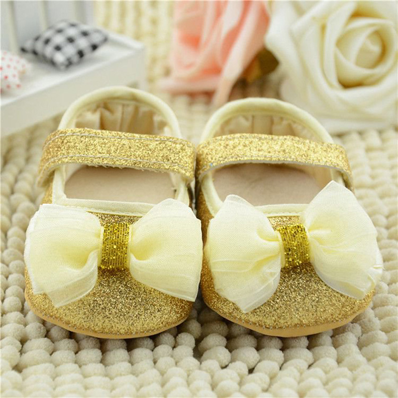 Beauty 0-18M Cute Baby Kid Girl Infant Soft Sole Ribbon Bowknot Princess Crib Shoes Hot