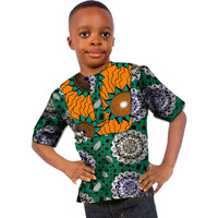 African T Shirts For Ankara Print Patchwork Short Sleeve Dashiki Tops Custom Made Children S African