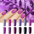 2016New Arrival 12Colors Purple Series UV Nail Gel Polish Bling Shiny Surface 10ML Soak Off 3 Weeks or Above  Nail Gel Gouserva