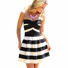 Hot Sale Vestidos 2016 Classic Striped Club Dresses Women Dress Sexy Strapless Off-Shoulder Party Dresses Fashion Dress