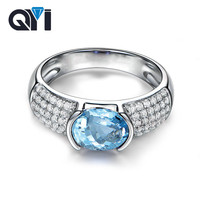 QYI 100% 925 Sterling Silver Natural Blue Toapz Ring Women 1.25 ct Oval Cut Gemstone Wedding Ring Free Shipping Wholesale