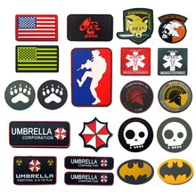 PVC Flag Patch MLD Sniper Foxhound Umbrella Peace World Airforce Navy Seal Spartan Military Patch Tactical Badge Airsoft Patches(China)