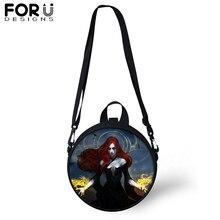 FORUDESIGNS Gothic Witch Round Messenger Bag for Women Girls Dark Art Black Circular Shoulder Crossbody Teenager Satchel