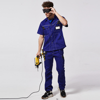 2 Piece Safety Cloth Work Cargo Protective Suit Sets Welders Soldering Protective Work Shirts Multi Tool Pockets Pants Trousers