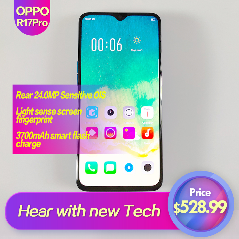 OPPO R17 Pro Global Rom 6.4 téléphone intelligent plein écran 3700 mAh 2340x1080 identification d'empreintes digitales 1080 P Octa Core 25MP + 24MP + 20MP Super VOOC