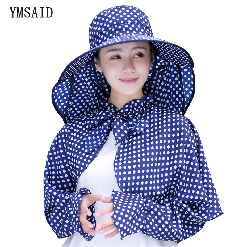 Ymsaid New Cotton Dot Big Eaves Summer Hats Women Foldable Covered Face Neck Cycling Anti Uv Sun Hat Free Shipping