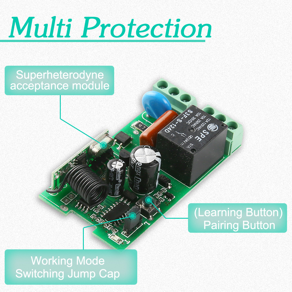 KTNNKG AC220V 1CH Wireless Remote Switch Receiver DIY Relay Module and 433 MHz Universal remote control RF Transmitter