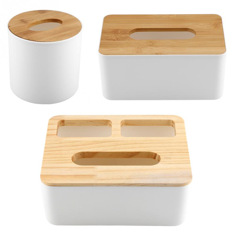 Removable Bamboo Wood Cover Plastic Tissue Box Holder Storage Organizer Fashion Tissue Holder Case for Home Decoration Tissue Boxes  - AliExpress