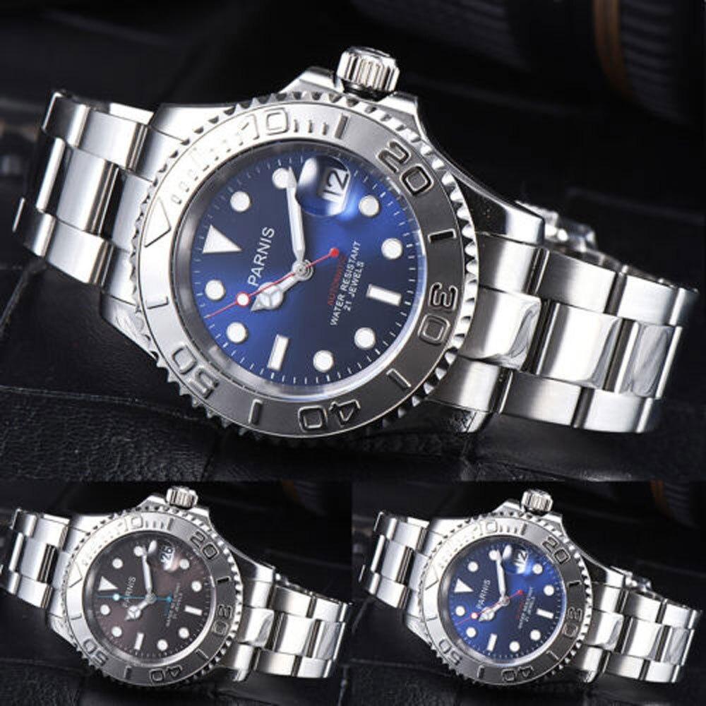 41 milímetros Parnis Azul Brown Black Dial Sapphire Vidro Romântico Doce Data janela 21 jóias Miyota Movimento Automático dos homens relógio