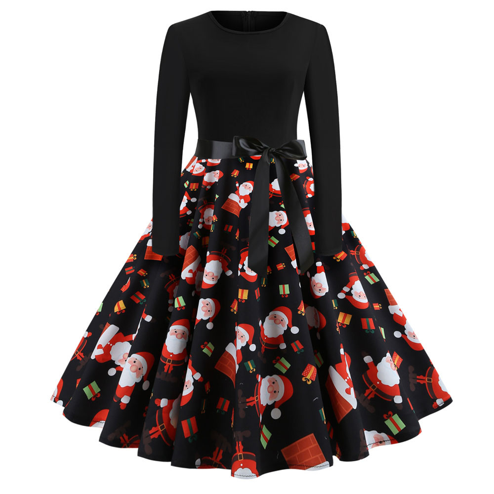 Women's Vintage Print Long Sleeve Christmas Evening Party Swing Dress Women Dresses For Women Autumn Vestidos Mujer 2020