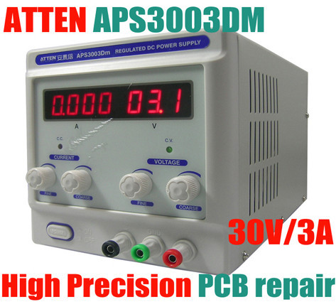 DC Regulated Power Supply ATTEN APS3003DM High Precision Single Output mA LCD Display Adjustable 0-30V/3A For Phone PCB Repair dc regulated switching power supply 60v 17a high power digital adjustable dc power supply 1000w four bit display cps 6017