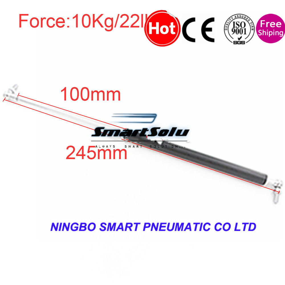 free shipping 10KG 22lbs Force 100mm Stroke Lift Truck Lid Support Auto Gas Spring Damper 100mm x 245mm