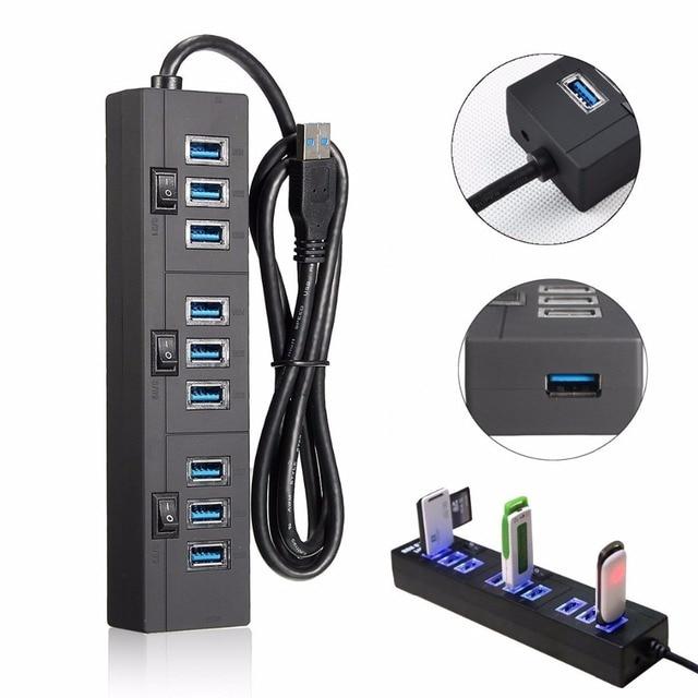 Leadzoe 10 Порта USB 3.0 Концентратор Высокоскоростной Передачи Данных Порта Splitter 2A Адаптер Питания с На Выключатели и LED USB Кабель для Передачи Данных