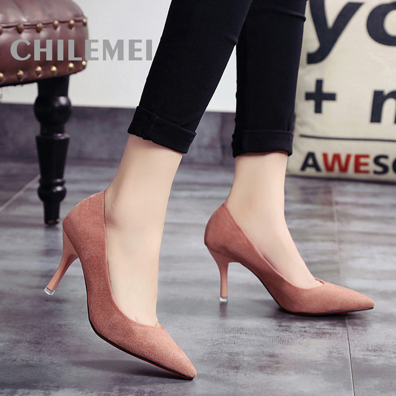 Fashion Women Shoes Pump High Heels Thin Heels Slip-on Suede Pointed Toe Basic Style Soft Leather Material Plain Autumn Winter 2015 autumn korean style pointed shoes with thin heels original glass double peach heart design shoes leather shoes