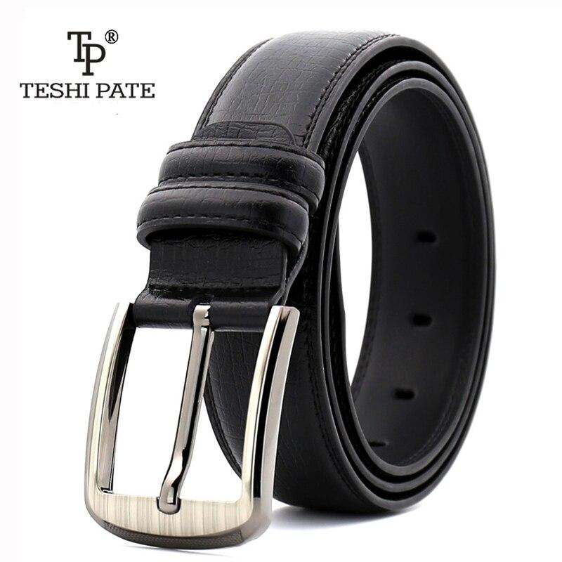 TESHI PATE TP Men belt classic fashion Buckle leather belts cummerbunds for leisure business 2018 NEW