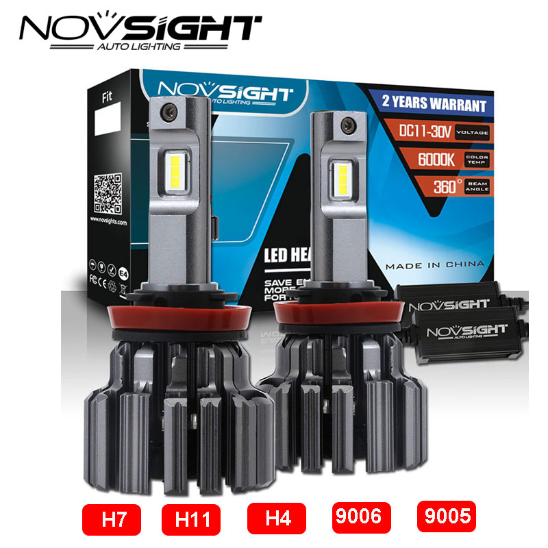 Novsight H7/H11/H4/9005/9006 Led Car Lamps 80w 15000lm/Pair Light Bulbs For Cars 6000k Auto Bulb Led Headlight Replace kits 1 set 2x 9007 led headlight bulb led lamps for cars light source fog lamps car styling light for carro 40w 6000k 4000lm
