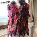 ZDFURS 2016 Otoño y el invierno de Punto chaleco del suéter de conejo chaleco de piel chaleco de piel de conejo de la borla Estilo caliente de Moda de piel chalecos