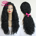 Fashion Top Quality Loose Curly Hair Black Glueless Wigs Heavy Density Heat Resistant Wig Synthetic Lace Front Wigs For Women
