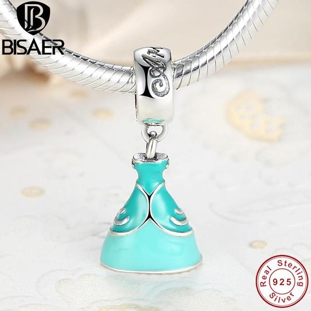 BISAER Original Sterling Silver 925 Ariel's Green Dress DANGLE Pendant Charm Fit  Bracelet Necklace Jewelry Classic Story