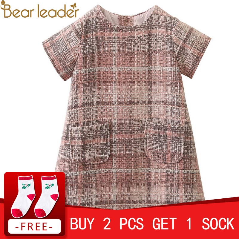 Bear Leader Girls Dress 2018 Brand Autumn Girls Clothes O-neck Plaid Pocket Design for Children Clothing 3-7Y Princess Dresses v neck plaid twist front mini dress