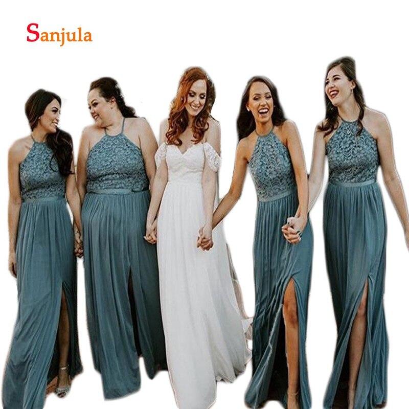 Halter Lace Top   Bridesmaid     Dresses   Long A-Line Cheap Wedding Guest   Dresses   2019 Leg Split Slit Women Wedding Party Gowns D487