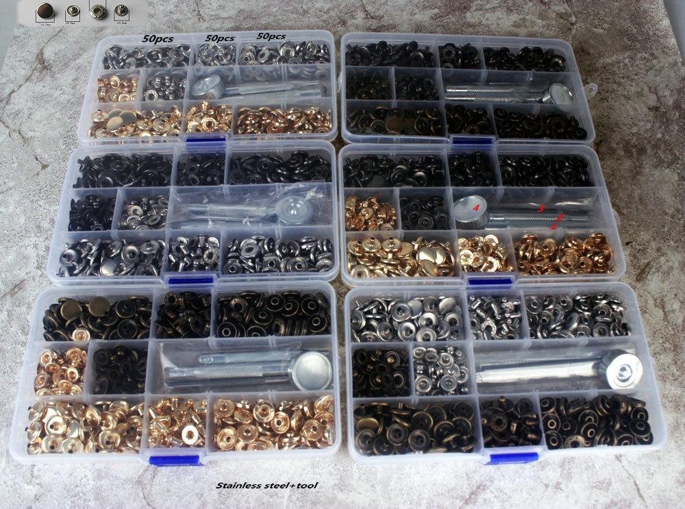 Hohe qualität 100 satz 633 druckknopf metall edelstahl panel mantel daunenjacke Druckknopf kostenloser versand