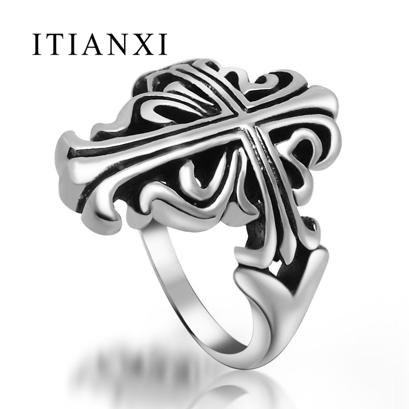 ITIANXI 2017 New Retro Mens 316L Stainless Steel Antique Cross Finger Ring Vintage Punk Rock Silver Plated Men Boys Jewelry