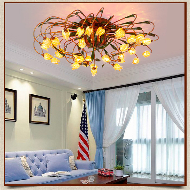 Glass Flower Green Leaves Ceiling Lights American Garden Artistic Ceiling  Lighting Living Room Bedrooms Art Deco