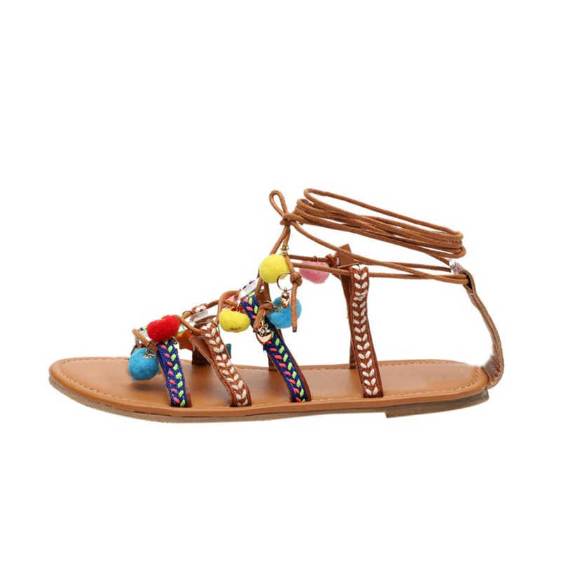 7f12a12449b7f NEW 2018shoes woman slippers femme Women Bohemia Sandals Gladiator Leather Sandals  Flats Shoes Pom-Pom