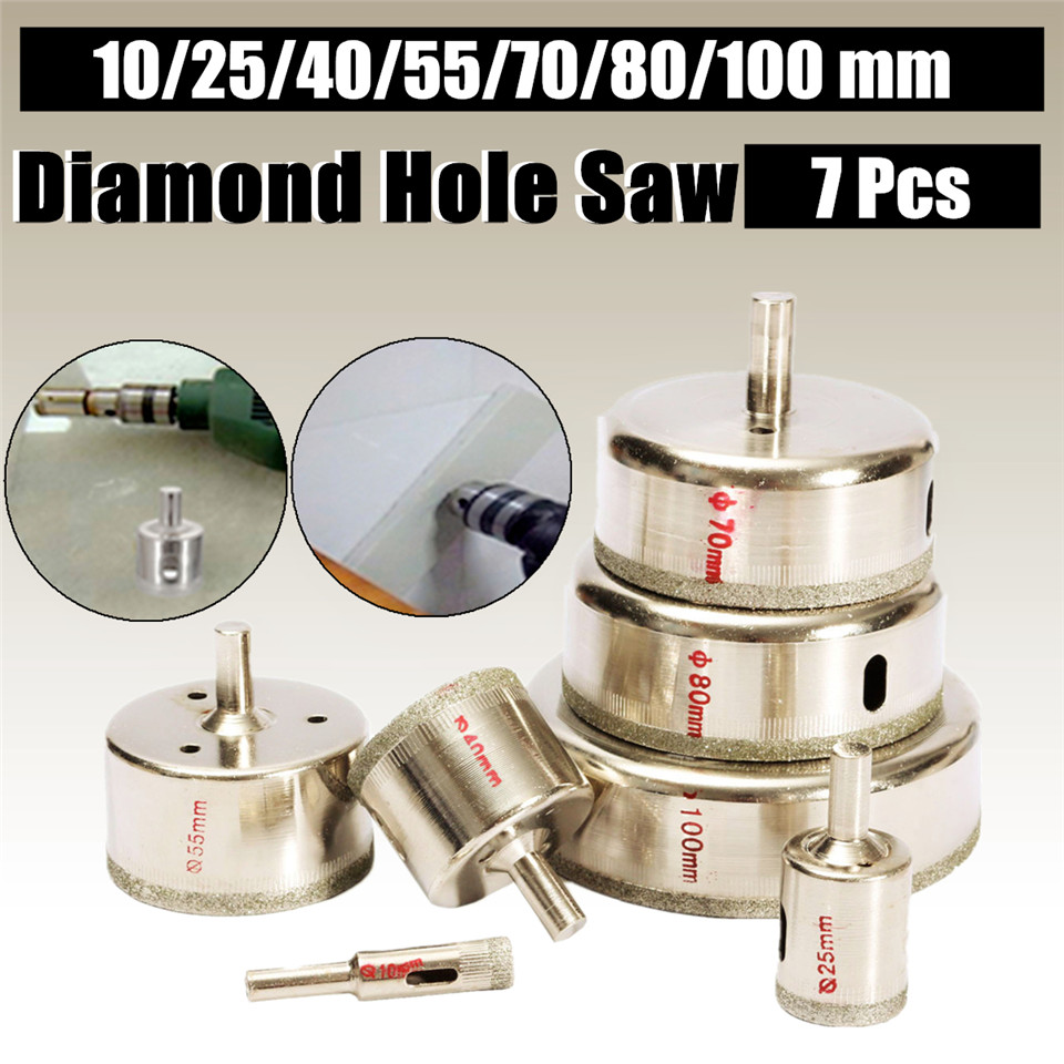 7Pcs/Set Metal Diamond Coated Core Hole Tile Marble Glass Saw Tilling Drill Bit Set 10-100mm Hot Sale
