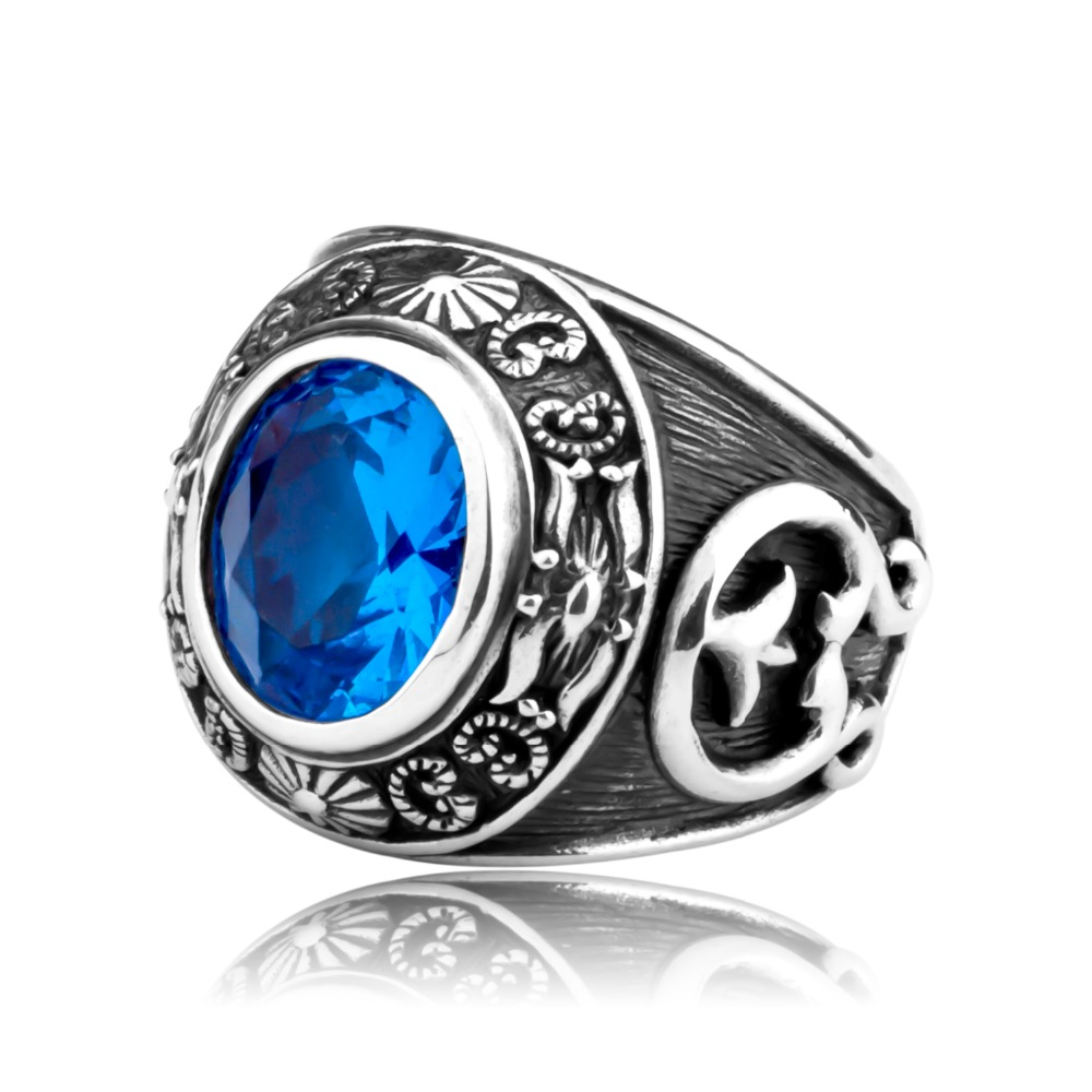 MetJakt Vintage Men Blue Topaz Rings Hand Carved Totem Solid 925 Sterling Silver Ring for Men