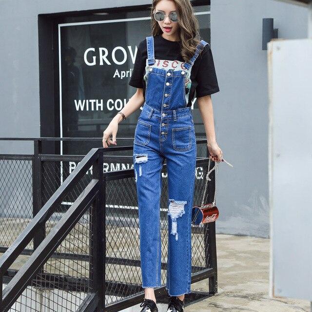 dc5ea42bc Vetevidi novas mulheres casual solta calças jeans femininas Coreano buraco  Solta calça jeans jardineiras macacão jeans