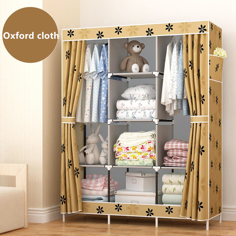 FREE shipping Good Wardrobe Closet Large And Medium-sized Cabinets Simple Folding Reinforcement Receive Stowed Clothes Store simple fashion moistureproof sealing thick oxford fabric cloth wardrobe rustproof steel pipe closet 133d