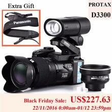 PROTAX 16MP D3300กล้องดิจิตอลกล้องมืออาชีพHDกล้องวิดีโอกล้องDSLRมุมกว้าง21x Telephotoเลนส์กล้องดิจิตอล