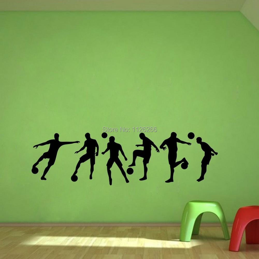 Soccer sportsman diy vinyl wall sticker boys bedroom room for Boys wall art