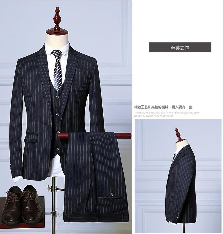 Costume Homme  Men Suits For Wedding Suit Male Suit ,Stripe Men's Dress Business Suits (Jacket+Pants+Vest) Ternos Masculino