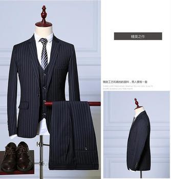 Costume Homme  Men Suits for Wedding Suit Male Suit ,Stripe Men's Dress Business Suits (Jacket+Pants+Vest) ternos masculino jacket vest pants 2017 autumn high quality jacquard men suits fashion embroidered suits men s business wedding suit men s 5xl
