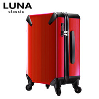 Luna universal wheels trolley luggage travel bag for soft metal luggage bags trolley luggage,high quality 20inch red luggage