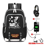 Anime Overlord Canvas Backpack USB Charging Headphone jack Student School Backpack Teenagers men travel laptop bag 16 styles