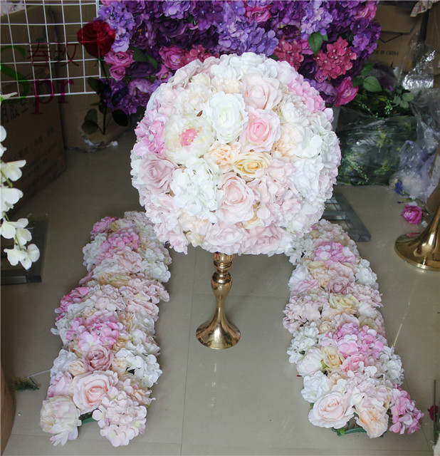 Spr Mix Pink Champagne Series Artificial Rose Wedding Flower Wall Backdrop Road Lead Table Centerpiece