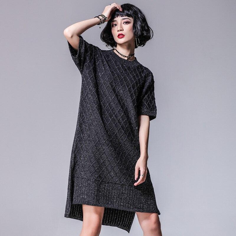 Europe New 2018 Spring Women's High Street Fashion Loose Short Bat Sleeve Asymmetrical Split Knitted Sweater Dress Casual Dress new grub street
