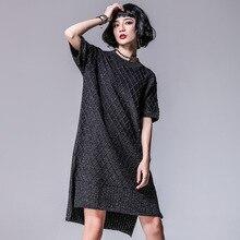 Европа 2018 новые весенние Для женщин высокое уличный стиль свободные короткие рукав «летучая мышь» Асимметричный Разделение трикотажные Платья-свитеры повседневные платья