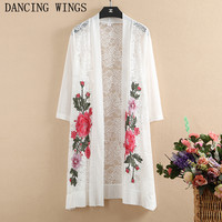 Spring Summer Women's Elegant Flower Embroidery Lace Long Cardigan Thin Coat Outwear Black White