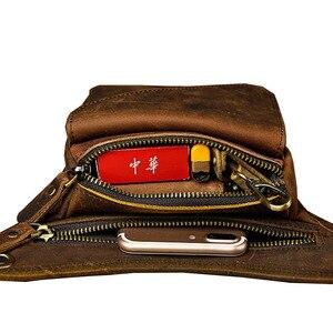 Image 5 - גברים של מטורף סוס עור זרוק רגל תיק פאני חבילת מותן ירך היפ Bum חגורת שליח כתף תיק נסיעות אופנוע