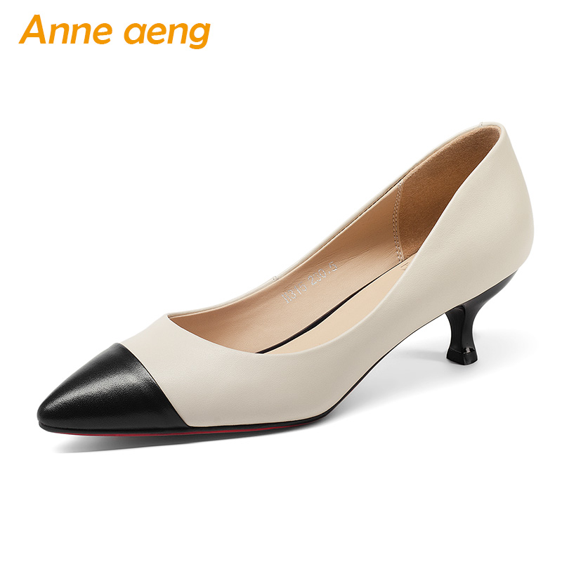 New Genuine Leather Women Pumps Middle Heels Pigskin Insole Pointed Toe Sexy Office Ladies Bridal Wedding